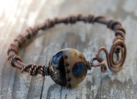 Copper bangle with lampwork by Moon Stumpp