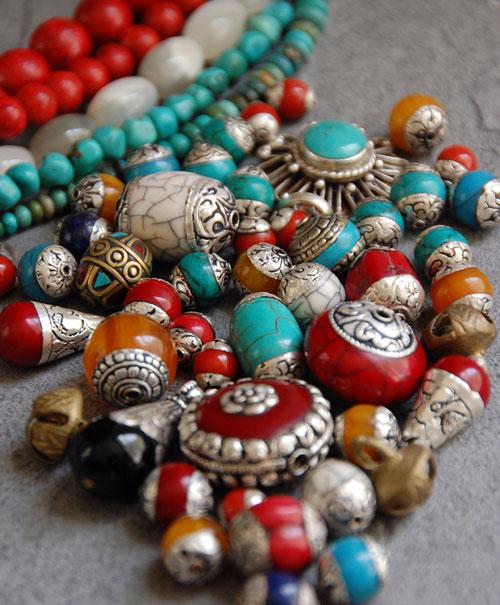 Tibeten beads:  amber, turquoise, coral, lapis, naga shell, carnelian
