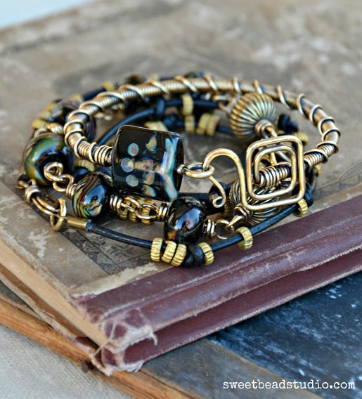 Black Magic set - leather wrap by Cindy Wimmer
