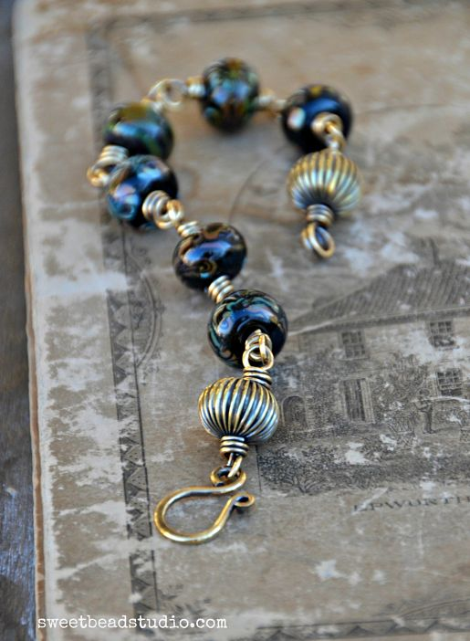 Black Magic set_lampwork bracelet by Cindy Wimmer {sweetbeadstudio}