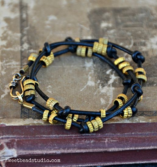 Black Magic set_leather wrap bracelet_opt