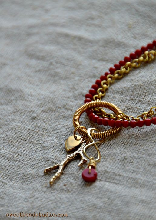Nina Designs_Red + Gold necklace detail - by Cindy Wimmer
