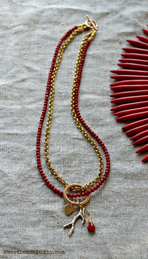 Nina Designs_Red + Gold necklace with bamboo charm by Cindy Wimmer