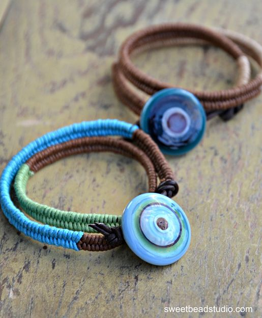 WellnessWordsChallenge - Herringbone Wrap bracelets with KABS cabachons by Cindy Wimmer