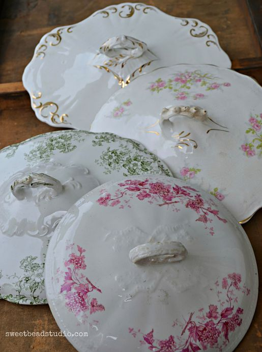 Antique china assorted lids
