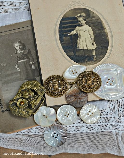 Cabinet cards and mother of pearl buttons