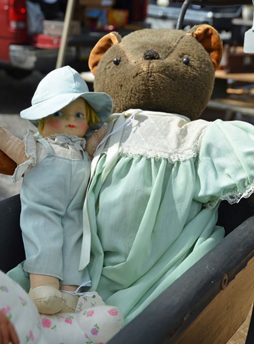 Vintage teddy bear and doll