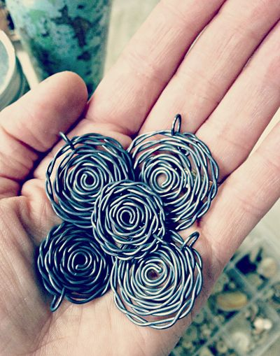 Oxidized Wire Spirals by Cindy Wimmer