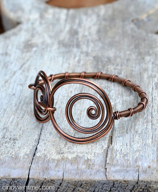 Twin Twirl wire bangle by Cindy Wimmer