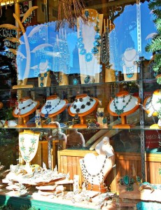 Turquoise jewelry in a shop window, Fredericksburg TX