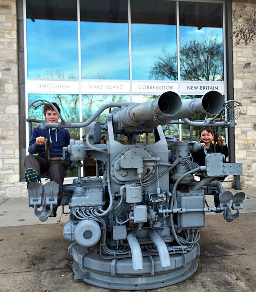 Exploring outside of the Nimitz Museum, Fredericksburg TX