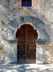 Unusual wooden door at the Mission Espada