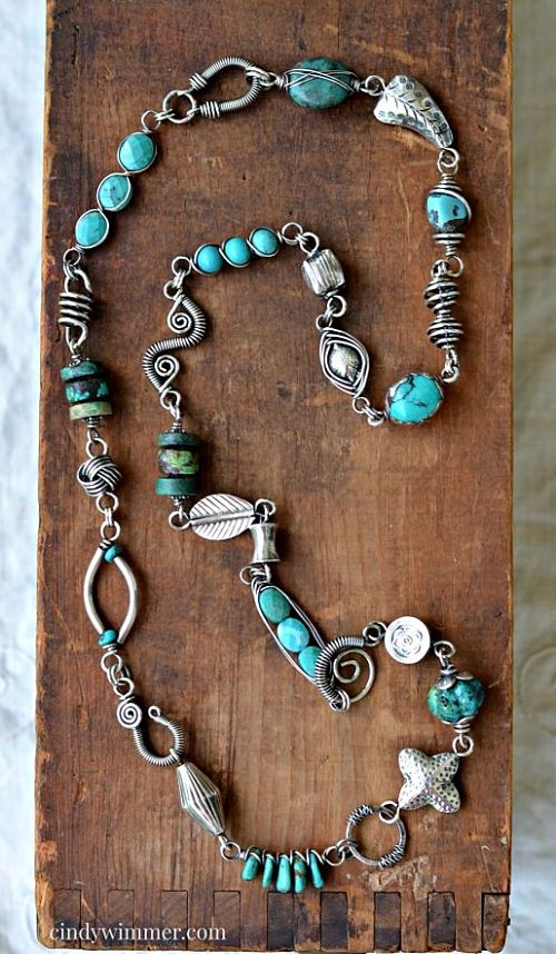Turquoise and sterling silver wire link necklace by Cindy Wimmer