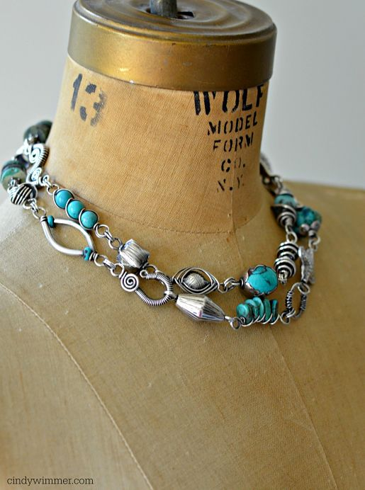 Double strand turquoise and wirework necklace by Cindy Wimmer
