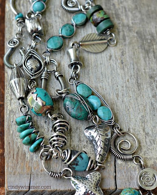 Turquoise and wire link necklace by Cindy Wimmer
