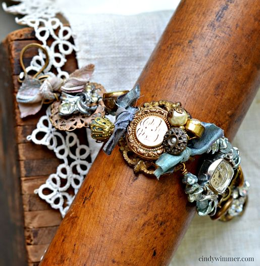 Vintage mixed media bracelet Somewhere in Time by Cindy Wimmer ~ Winter 2015 Jewelry Affaire