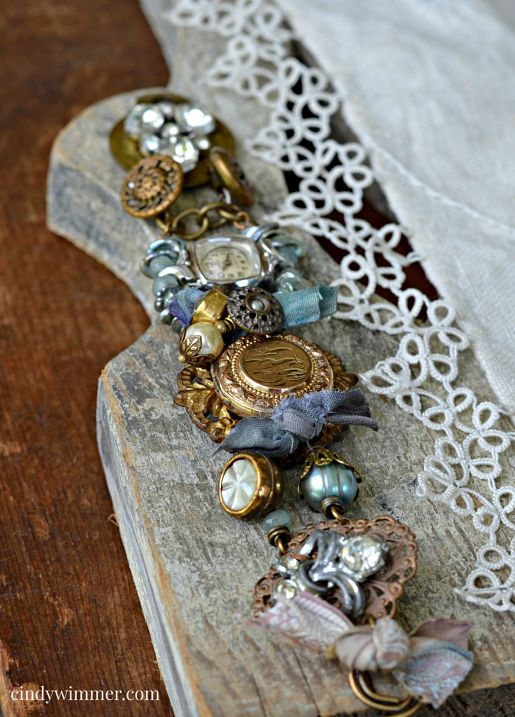 Vintage mixed media assemblage bracelet by Cindy Wimmer