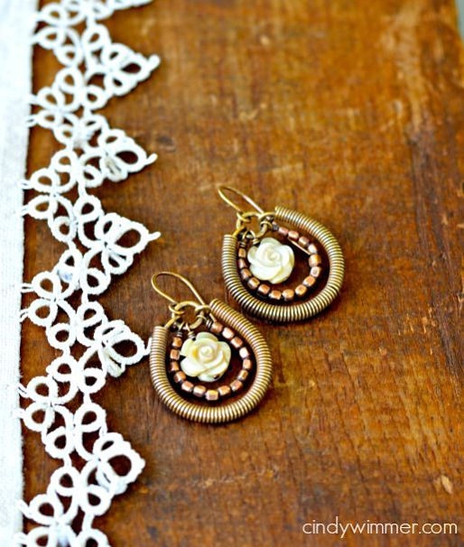 Wirework earrings by Cindy Wimmer