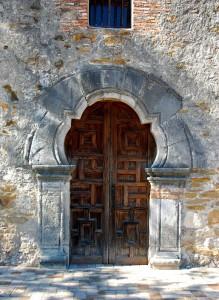 Unusual wooden door at the Mission Espada