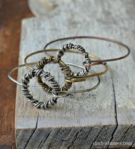 Wire wrapped bangles by Cindy Wimmer