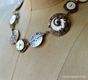 Vintage mother of pearl button necklace by Cindy Wimmer